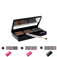 Hot Sale Professional 3 colour EYEBROW Powder/Shadow Palette With Double Ended Brush Make Up Eyebrow MK0033