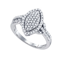 Diamond Ladies Fashion Ring in 10k White Gold 0.52 ctw