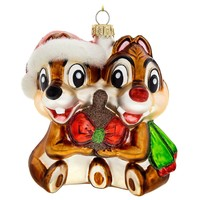 Licensed cool 2017 Chip N' Dale Chipmunks Acorn Red Bow Glass Ornament  Disney Store Parks