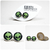 Alien Stud Earrings Alien Jewelry UFO Space Earrings Space Jewelry Green Alien Studs Post