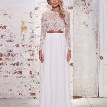 Cheap Beach Wedding Dresses Long Sleeves Lace Chiffon Floor Length Custom Made Two Pieces Boho Wedding Gowns Fast Shipping
