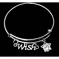 Wish Crystal Star Expandable Charm Bracelet Adjustable Silver Bangle One Size Fits All Gift