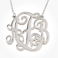 Sterling Silver Custom Small Split Monogram Necklace