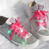 Wedding, Sweet 16, Valentines Day Gift, Crystal Converse-Custom handmade