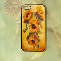 Sunflowers Painting -iPhone 5, iphone 4s, iphone 4 case, Samsung GS3 case, Ipod touch case-Silicone Rubber / Hard Plastic Case, Phone cover