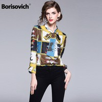 Borisovich High Quality Women Casual Shirt New Arrival 2018 Fashion England Style Vintage Print Elegant Ladies Blouse Shirt M491