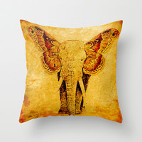 The elephant who wanted to be a butterfly Throw Pillow by Ganech