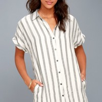 Skipper White and Grey Striped Shirt Dress