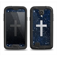 The Vector White Cross v2 over Bright Starry Sky Samsung Galaxy S4 LifeProof Nuud Case Skin Set