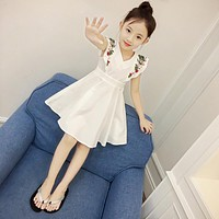 baby Girl clothes Children Summer Clothing fly sleeve dress Kids Clothes embroidery Casual solid dresses