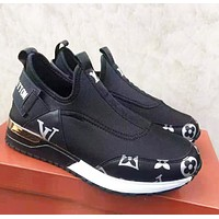 LV Louis Vuitton New fashion letter monogram print shoes Black