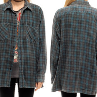 Grey Plaid Shirt 80s Oversized Grunge Flannel Button Down Blue Lumberjack 1980s Vintage Long Sleeve Women Men OVERSIZE Large