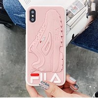 FILA Fashionable Women Men Silicone Mobile Phone Cover Case For iphone 6 6s 6plus 6s-plus 7 7plus 8 8plus X XsMax XR Pink