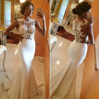 Mermaid White Fitted Prom Dresses