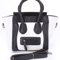 Black White Two Toned Faux Leather Cute Summer Purse
