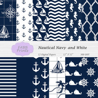 Nautical Navy Blue and White Digital Scrapbook Paper Pack Instant Download Map Sailboats Seahorse Stripes Chevron Whales Anchor Rope 12x12
