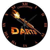 Darts With Golden Dart In Flames With Stylish Text Large Clock