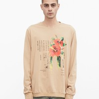 Dripping Hibiscus Calligraphy Printed Graphic Long Sleeve Crewneck Tee in Light Camel