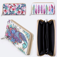 Zipper Around Long Wallet Clutch Card Coin Holder PU Leather Peacock Hibiscus