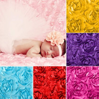 Baby Newborn 3D Rose Flower Photography Photo Prop Backdrop Rug Blanket 10 Color D_L = 1712804292
