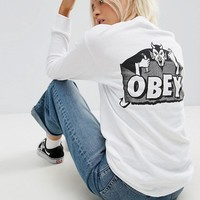 Obey Oversized Long Sleeve T-Shirt With Lucifer Back Graphic at asos.com