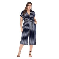 Striped Jumpsuit Romper Wrap