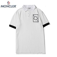 Moncler New fashion embroidery pattern couple lapel top t-shirt White
