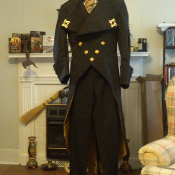 Steampunk Black Miore Regency Inspired Three Tiered Tail Coat
