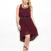 Plus Size Eggplant Belted High Low Dress