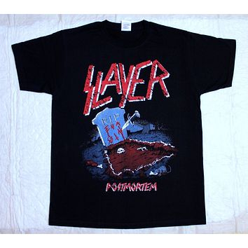 New SLAYER Metal Rock Band Logo Men's White T Shirt Size S 3XL T Shirt Summer Famous Clothing New 2017 Funny Top Tee Plus Size|T-Shirts