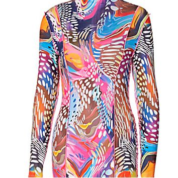 New hot sale women's round neck long sleeve camouflage print dress