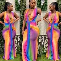 Women's New Style Deep V Neck Sleeveless Sexy Color Striped One-piece Dress