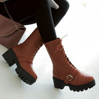 Women Motorcycle Boots Lace Up High Heels Platform Shoes Woman 2016 3489