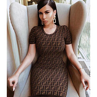 Fendi Trending Women Stylish Double F Print Short Sleeve Round Collar Dress Coffee