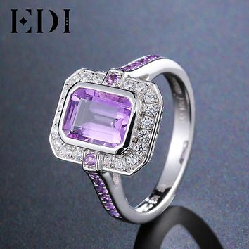 EDI Authentic 925 Silver Natural Amethyst Engagement Ring Classic Noble Luxury(Sizes 6,7,8)