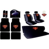 BDK 16pcs New Superman Car Seat Covers Set with Heavy Duty Carpet Floor Mats, Shoulder Pads and Steering Wheel Cover, Keychain