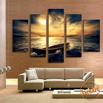 5 Panel Sunset Seascape Painting Single Boat Picture for Living Room Home Decor Wall Art Canvas Prints Artwork Unframed