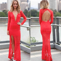 Sexy Plunge Vneck Backless Lace Slit Wedding Bodycon Prom Gown Maxi Long Dress