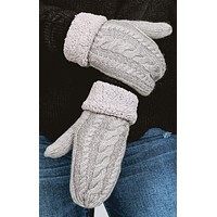 Cuffed Cable Knit Mittens