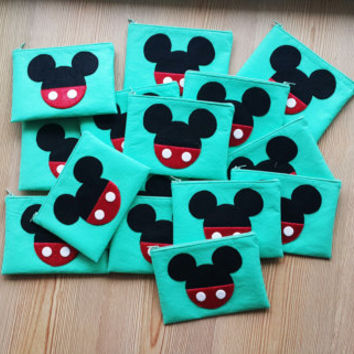 Mickey  Mouse Birthday Theme Zip Purses Set of 10 , Minnie Mouse Party,Makeup Bag, Coin Purse, Small Accessory Pouch ,FREE SHIPPING
