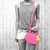 Cat Silhouette Shaped Hello Kitty Cross body Shoulder Bag for Women in Neon Pink