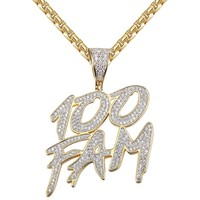 Men's 100 Fam Dollar Cash  14k Gold Finish Pendant