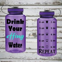 Drink Your Effing Water 34oz Water Intake Tracker Bottle