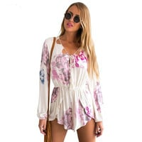 Hot Sale V-neck Sexy Print Long Sleeve Jumpsuit Romper [6315968257]