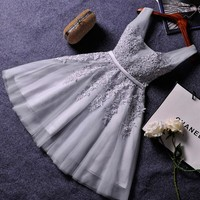 Grey Tulle Strap Homecoming Dresses,Short Homecoming Dresses with Applique