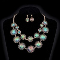 Exotic Peacock Iridescent Cabochon Layered Necklace and Earrings Set