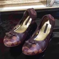 Louis Vuitton LV New style single shoe woman tartan shoes Coffee
