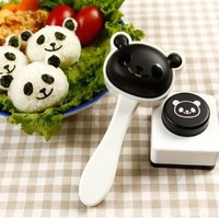 1 X Panda Shape Sushi Maker Rice Ball Onigiri Mold Mould + Nori Punch DIY Bento