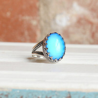 Sterling Silver Mood Ring, Color Changing Ring, Gypsy Jewelry, Boho Ornate Ring, Hippie Ring, Festival Jewelry, Handmade in USA