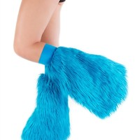 Clubstyle Clothing Turquoise Fluffies : Quality Fluffy Leg Warmers